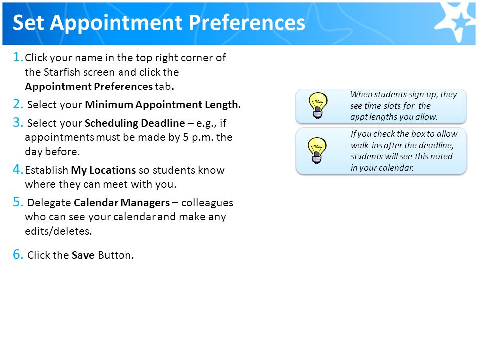 Set Appointment Preferences