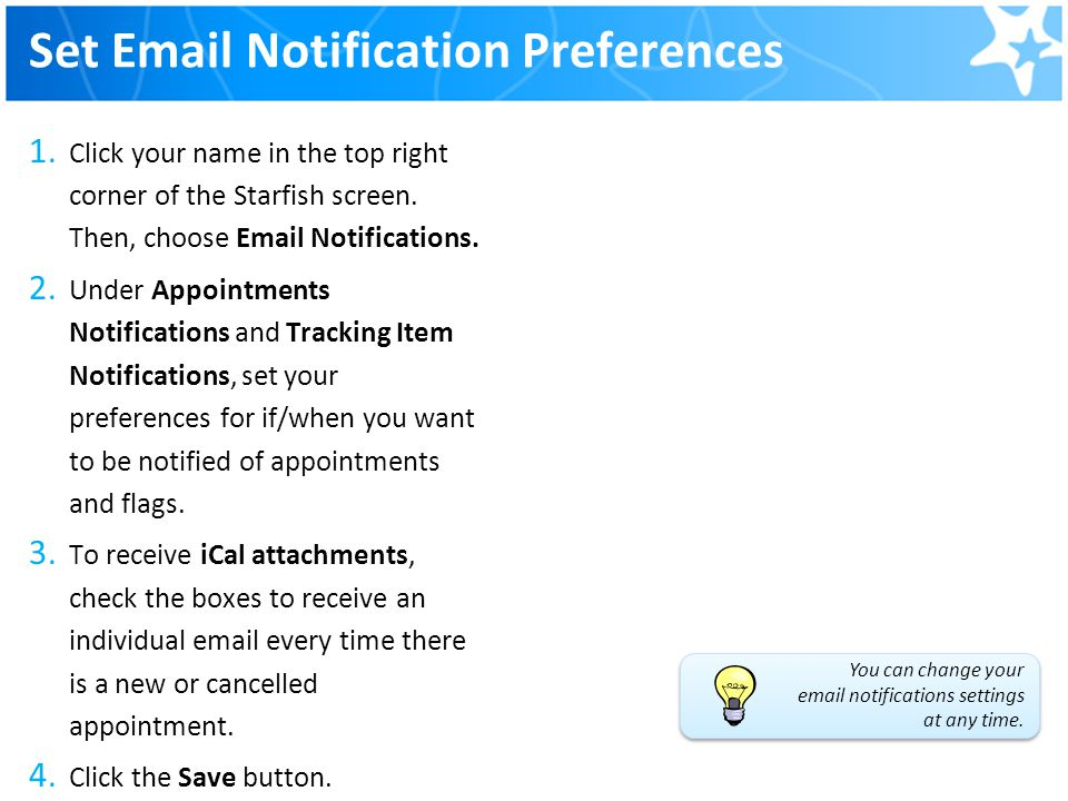 Set Email Notification Preferences
