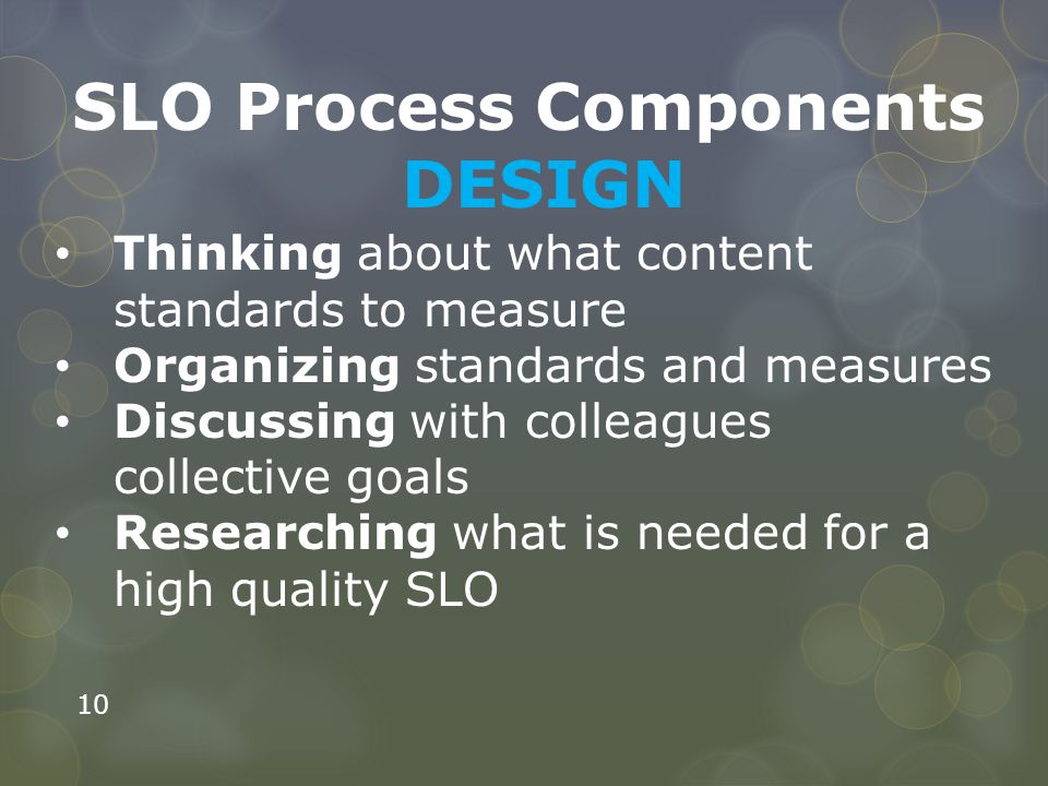 SLO Process Components DESIGN