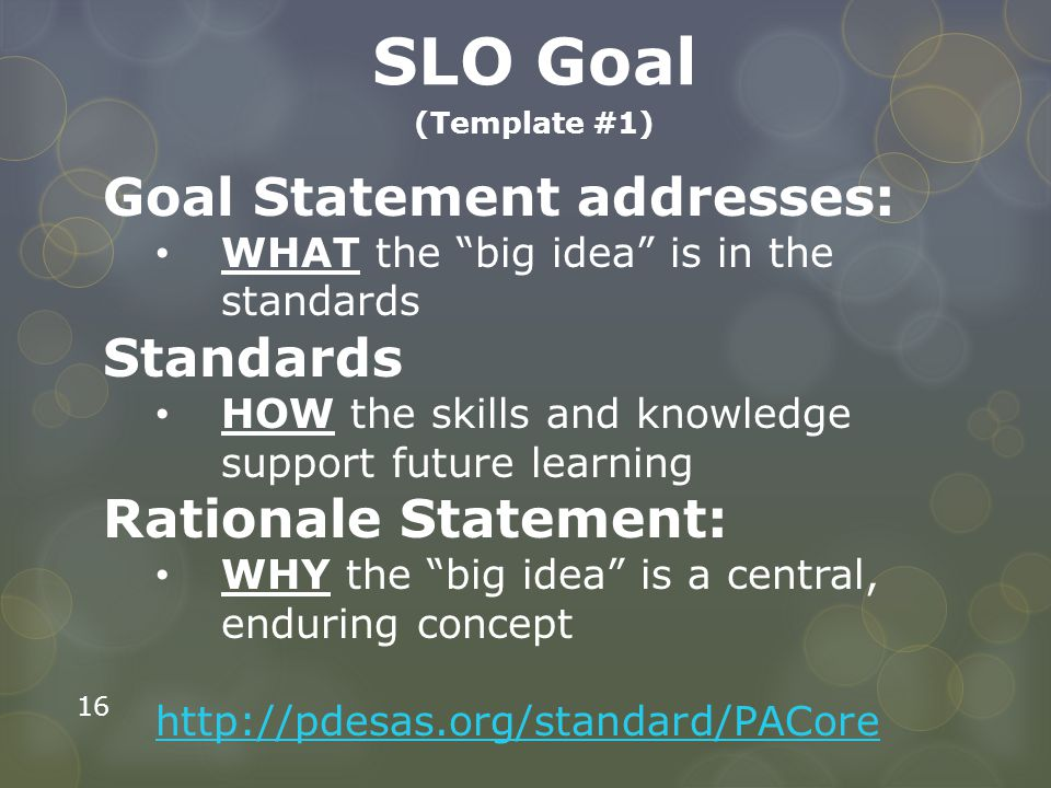 SLO Goal Goal Statement addresses: Standards Rationale Statement: