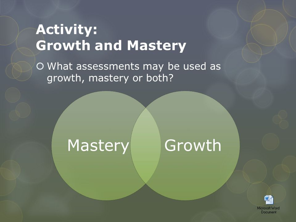 Activity: Growth and Mastery