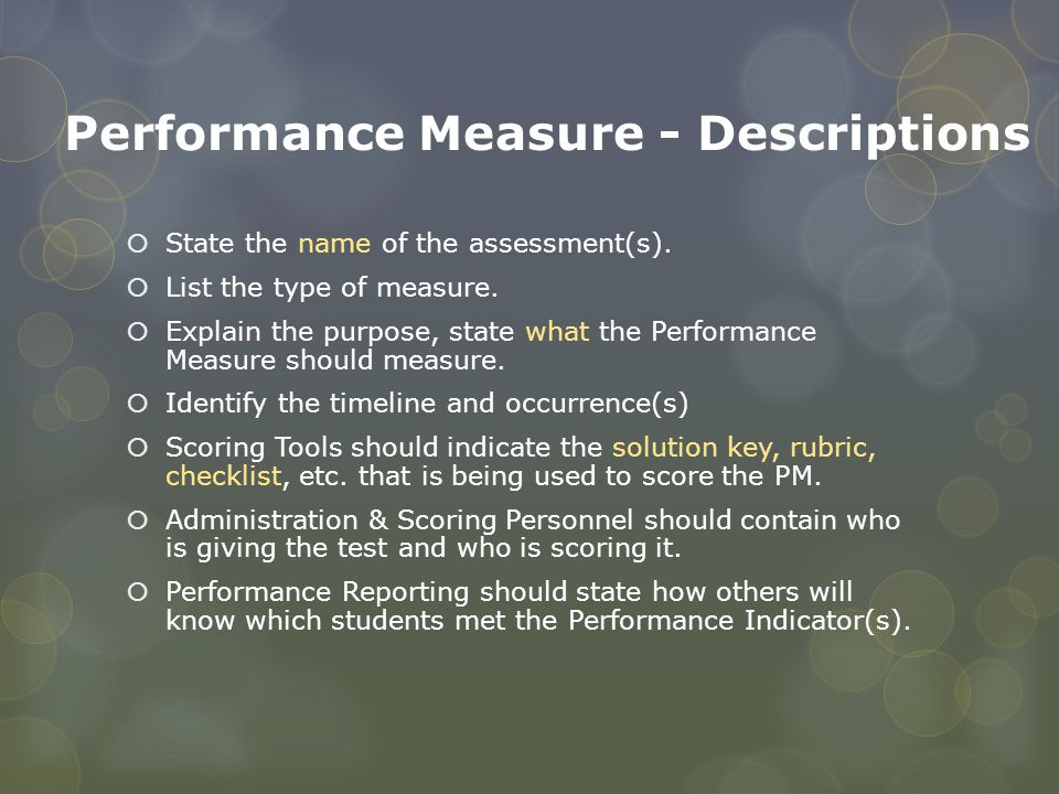 Performance Measure - Descriptions