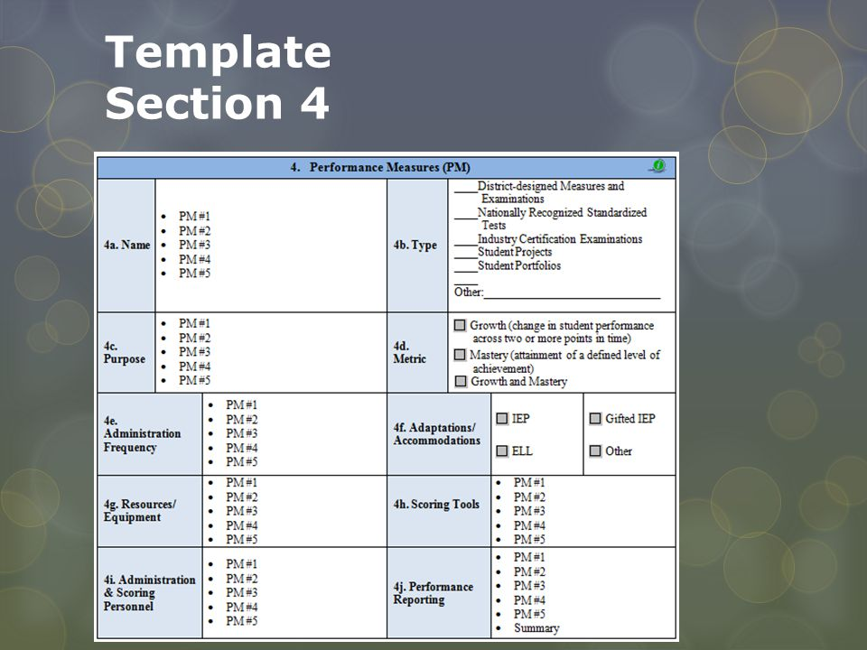 Template Section 4 There need not be 5….This is arbitrary. Suggestion is between 2 and 5 PI's