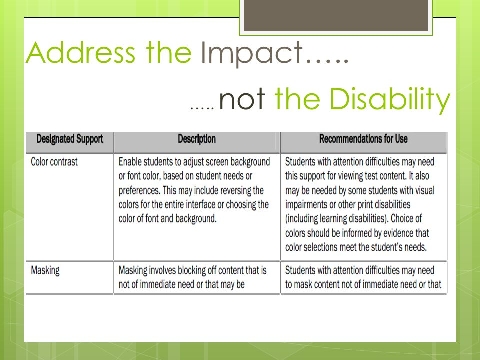 Address the Impact….. ….. not the Disability