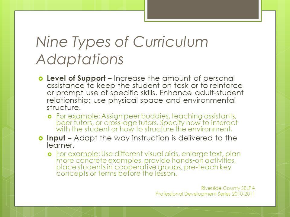 Nine Types of Curriculum Adaptations