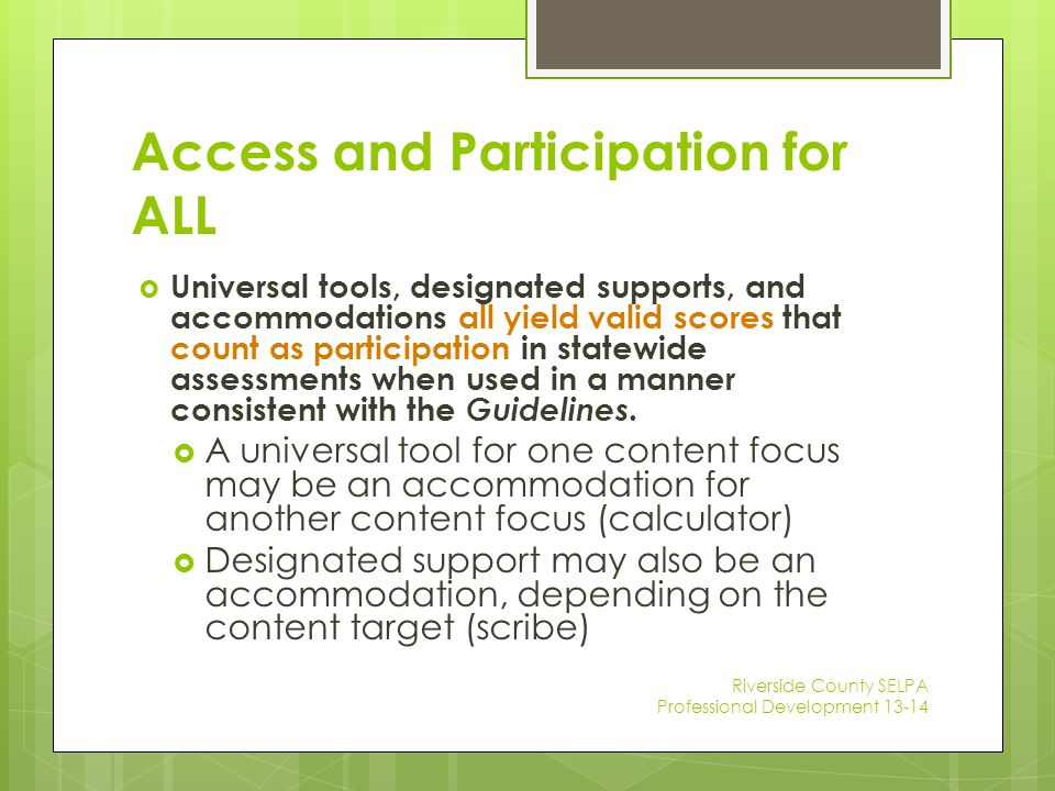 Access and Participation for ALL