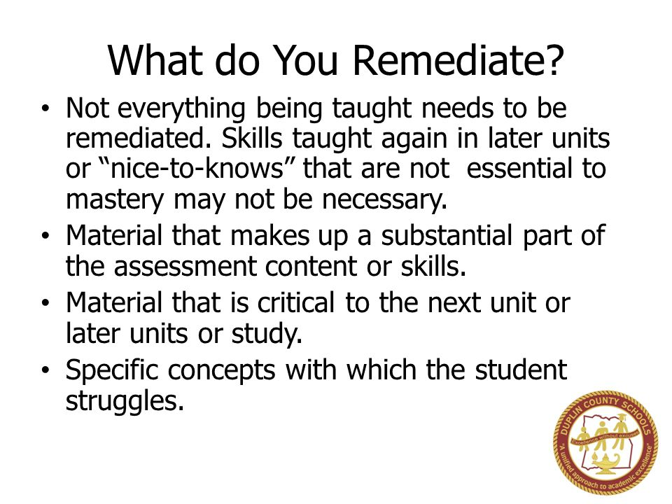 What do You Remediate