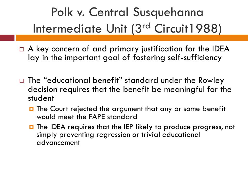 Polk v. Central Susquehanna Intermediate Unit (3rd Circuit1988)