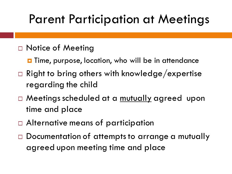 Parent Participation at Meetings