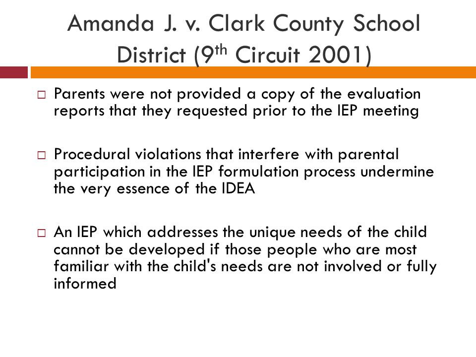 Amanda J. v. Clark County School District (9th Circuit 2001)