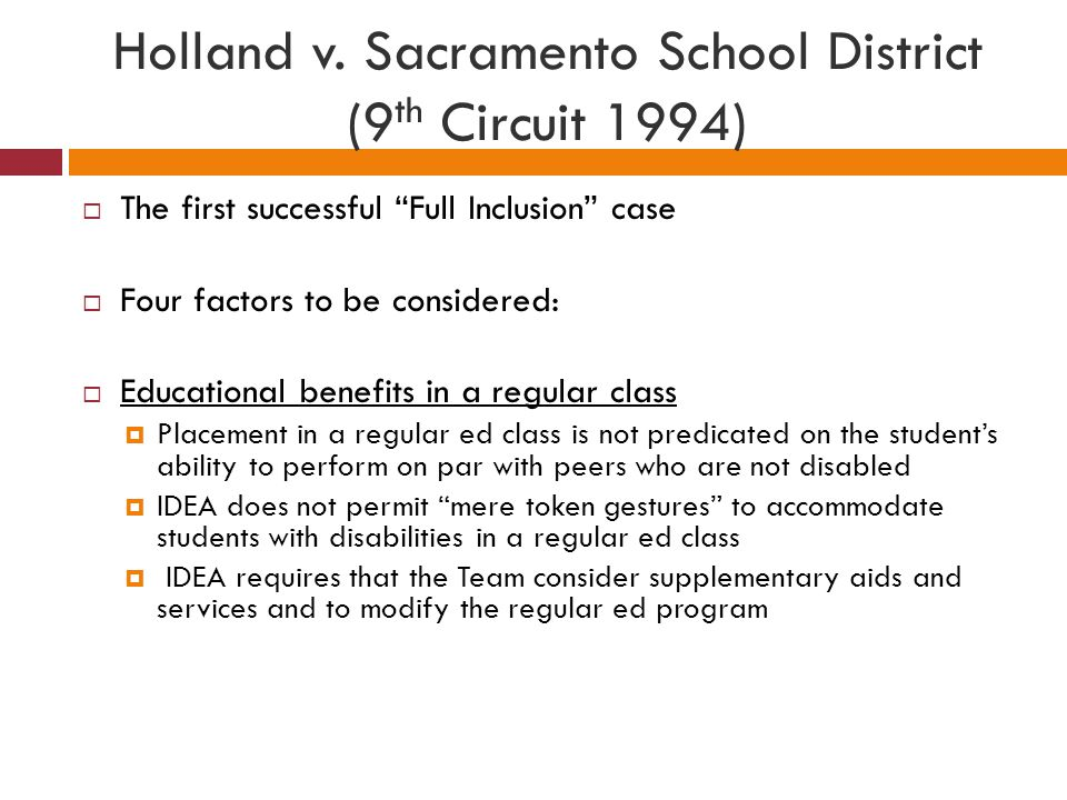 Holland v. Sacramento School District (9th Circuit 1994)