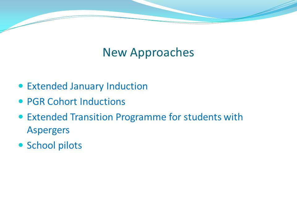 New Approaches Extended January Induction PGR Cohort Inductions