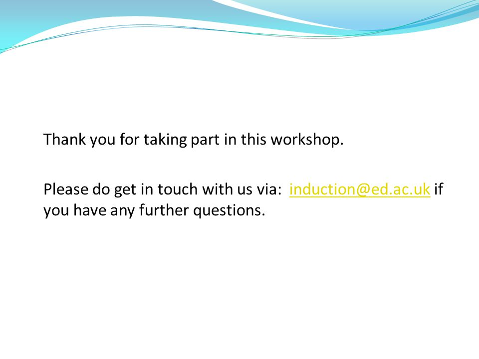 Thank you for taking part in this workshop.