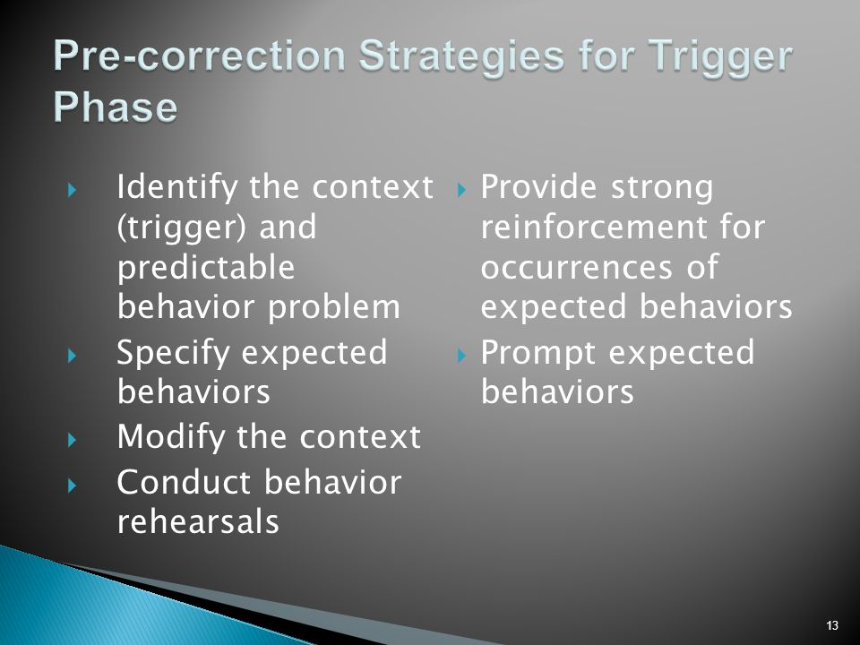 Pre-correction Strategies for Trigger Phase