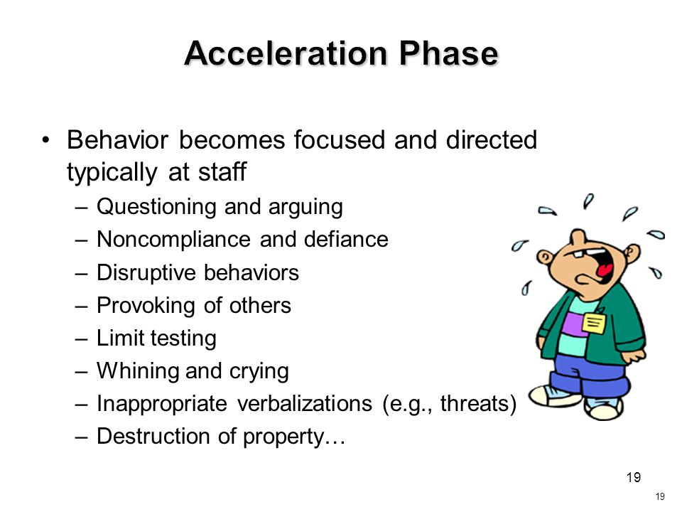 Acceleration Phase Behavior becomes focused and directed typically at staff. Questioning and arguing.