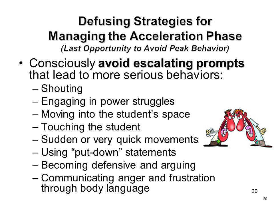 Defusing Strategies for Managing the Acceleration Phase (Last Opportunity to Avoid Peak Behavior)