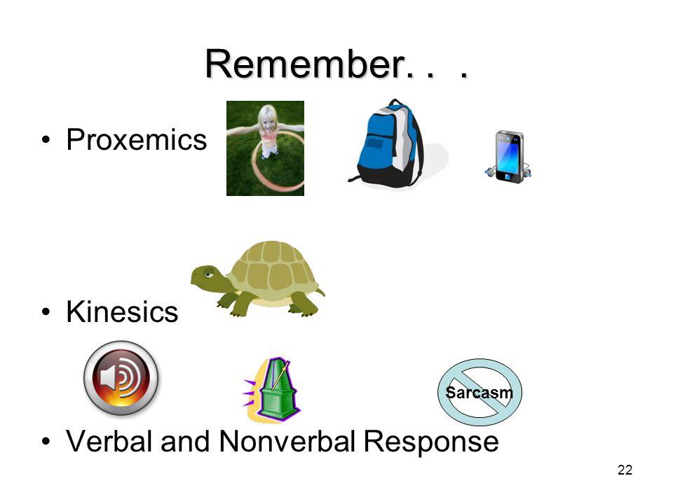 Remember. . . Proxemics Kinesics Verbal and Nonverbal Response Sarcasm