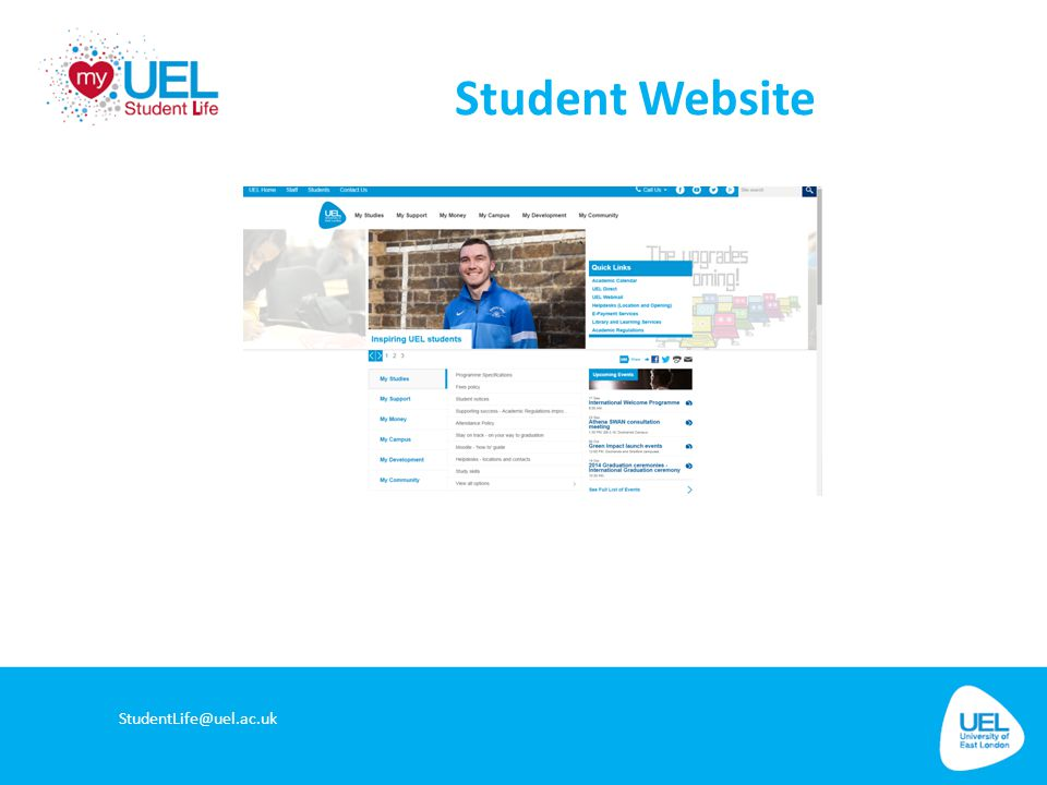 Student Website StudentLife@uel.ac.uk