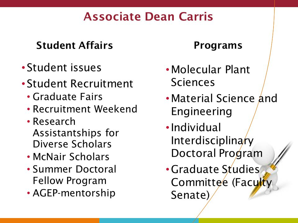 Associate Dean Carris Student issues Molecular Plant Sciences