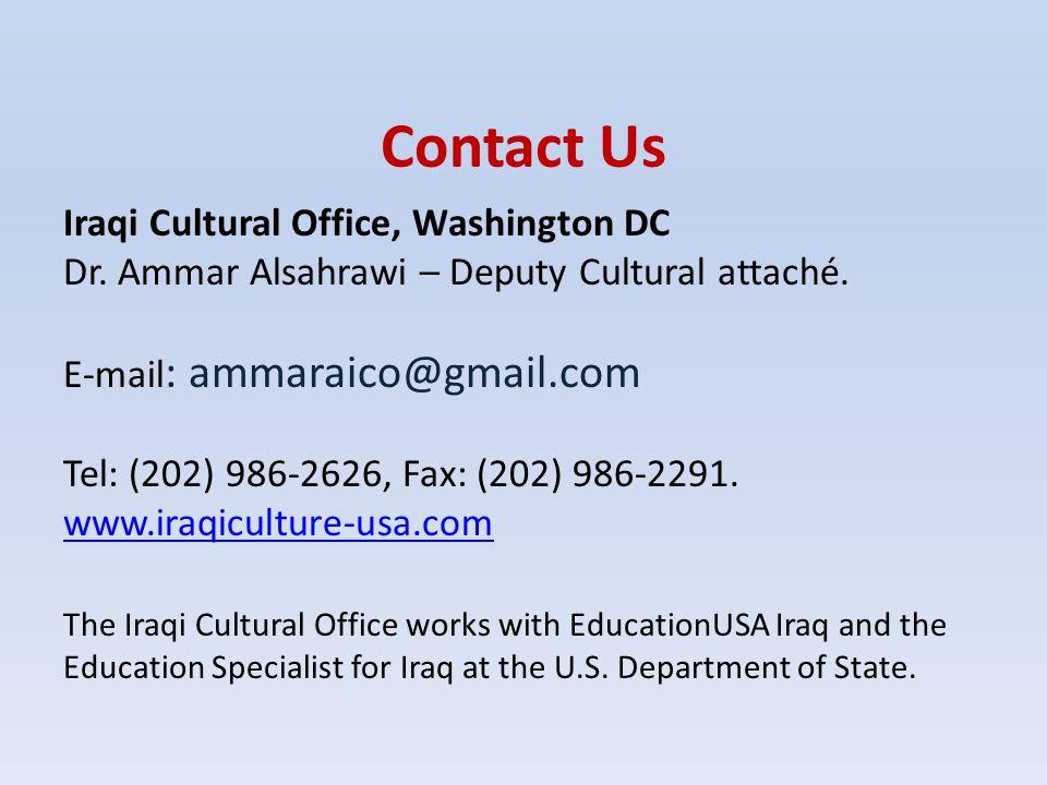 Contact Us Iraqi Cultural Office, Washington DC