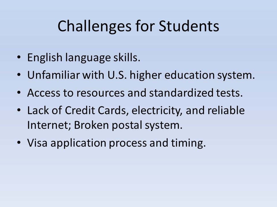 Challenges for Students