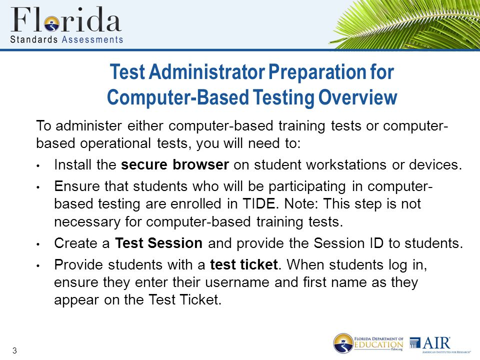 Test Administrator Preparation for Computer-Based Testing Overview