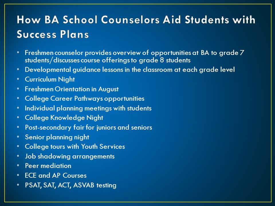 How BA School Counselors Aid Students with Success Plans