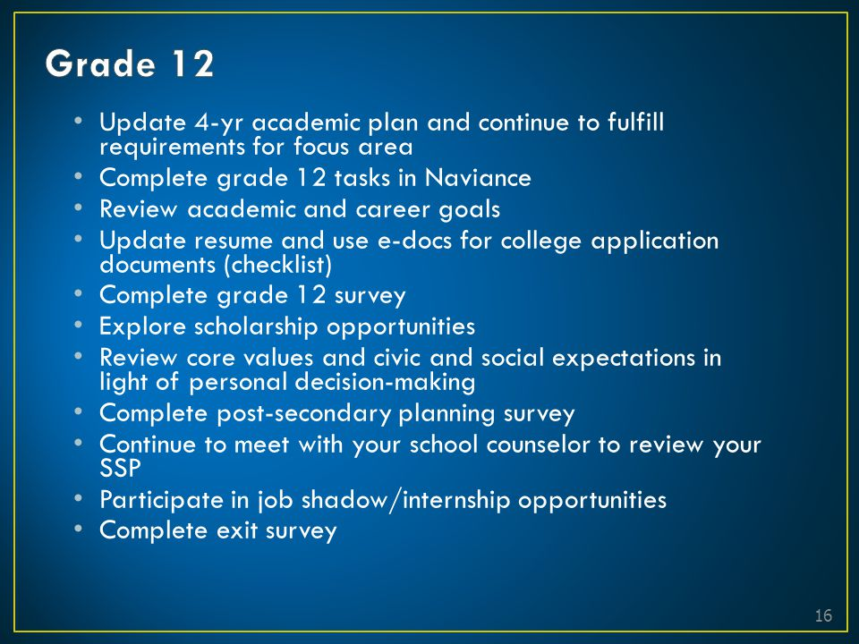 Grade 12 Update 4-yr academic plan and continue to fulfill requirements for focus area. Complete grade 12 tasks in Naviance.