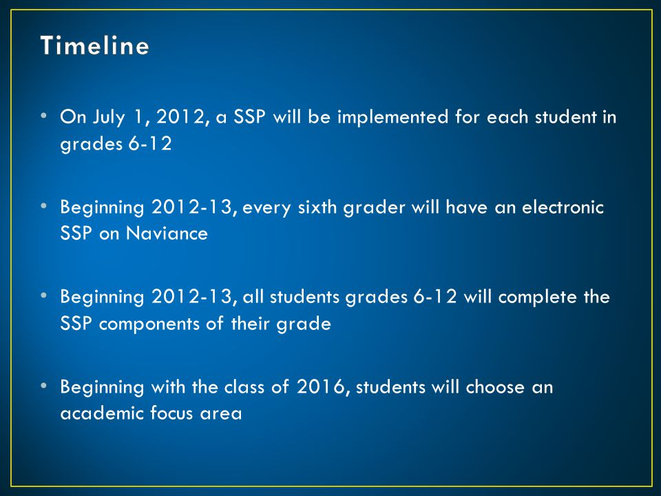 Timeline On July 1, 2012, a SSP will be implemented for each student in grades 6-12.