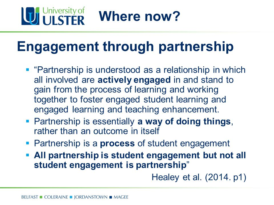 Engagement through partnership