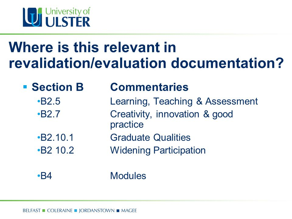 Where is this relevant in revalidation/evaluation documentation