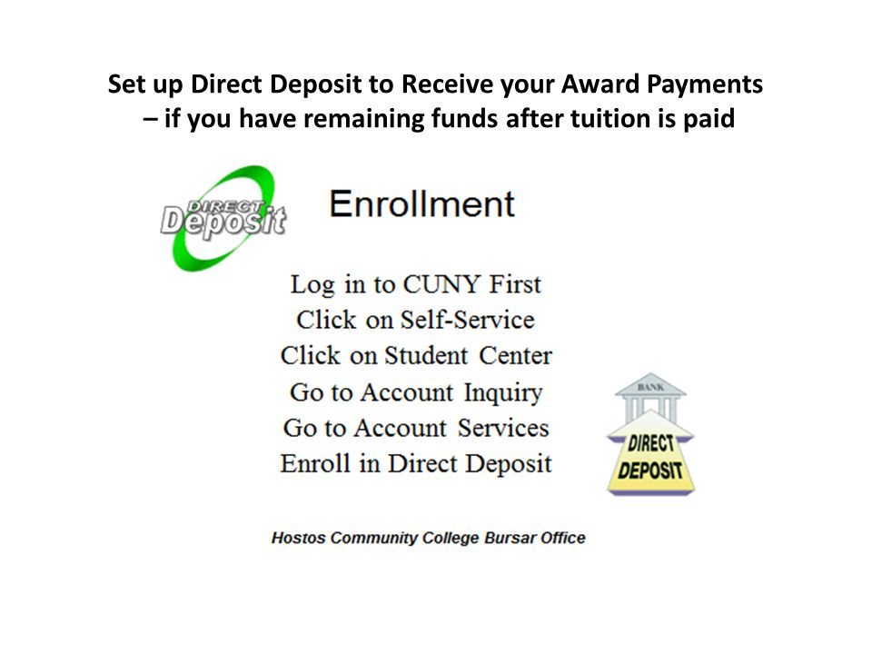 Set up Direct Deposit to Receive your Award Payments – if you have remaining funds after tuition is paid
