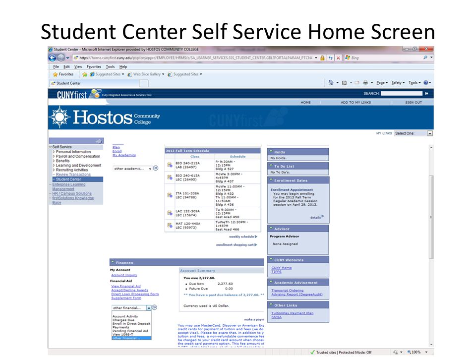 Student Center Self Service Home Screen