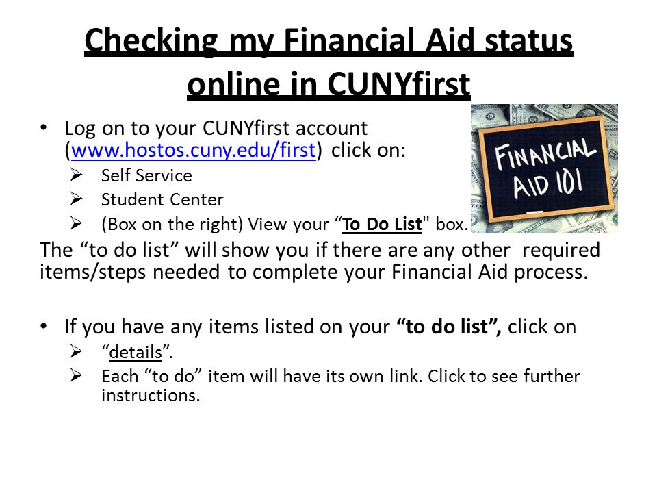 Checking my Financial Aid status online in CUNYfirst