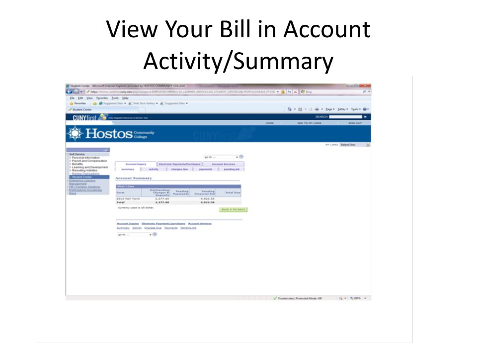 View Your Bill in Account Activity/Summary
