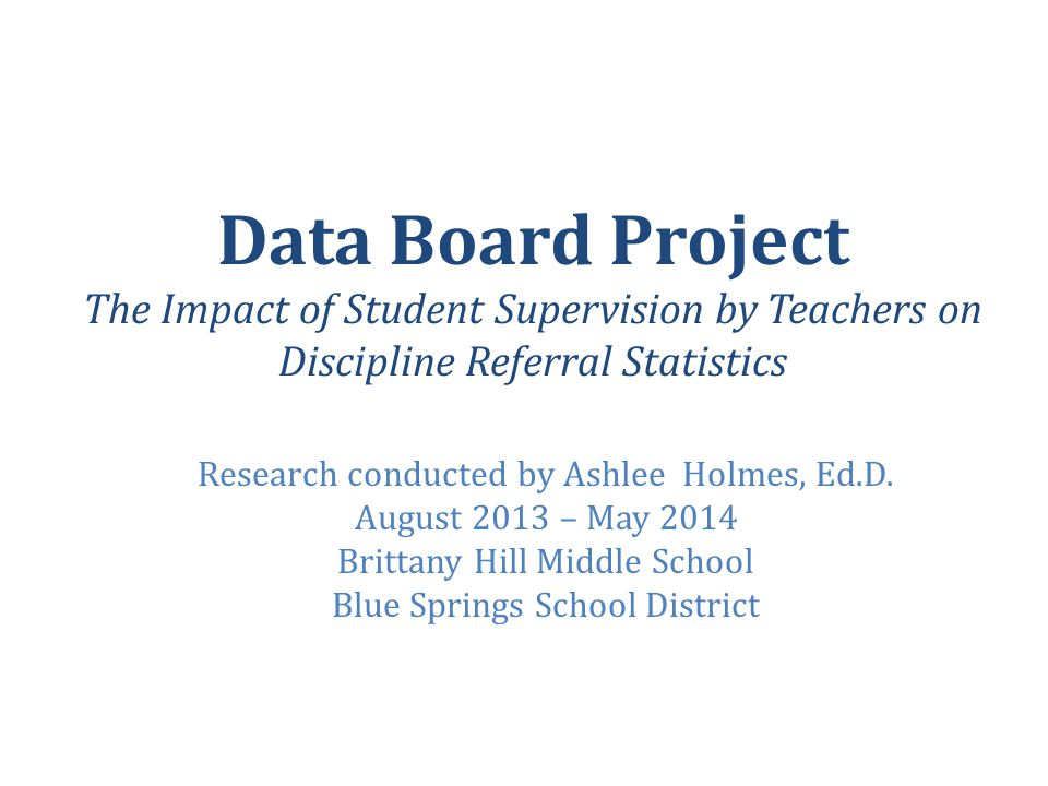 Data Board Project The Impact of Student Supervision by Teachers on Discipline Referral Statistics