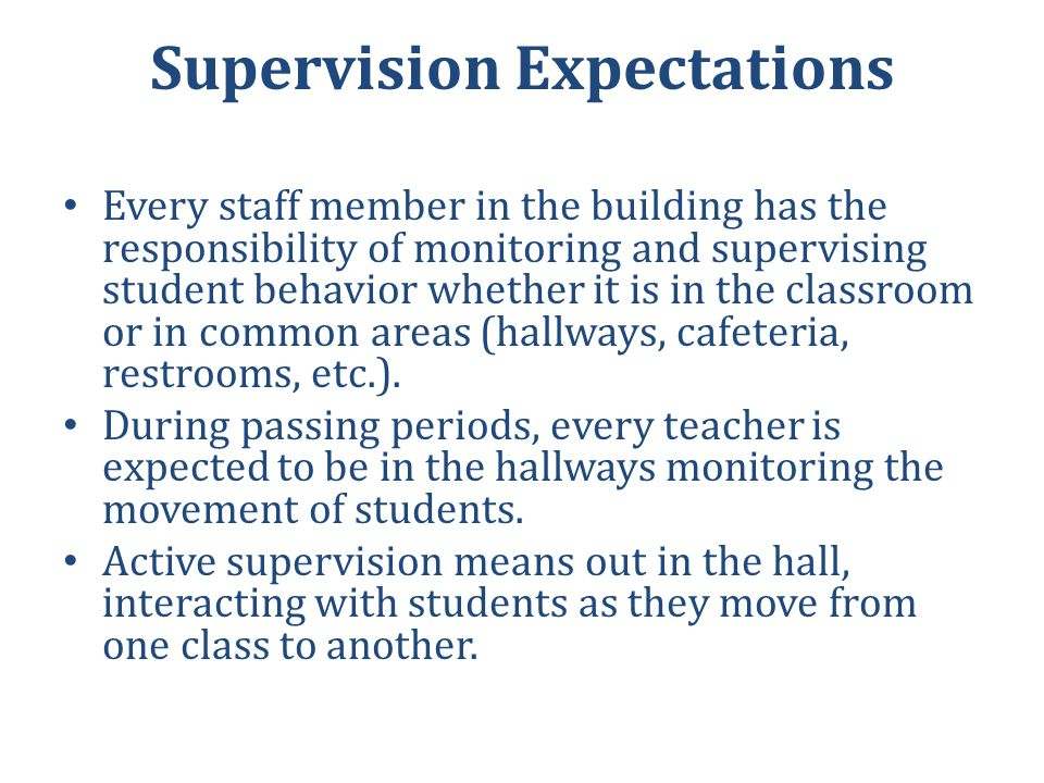 Supervision Expectations