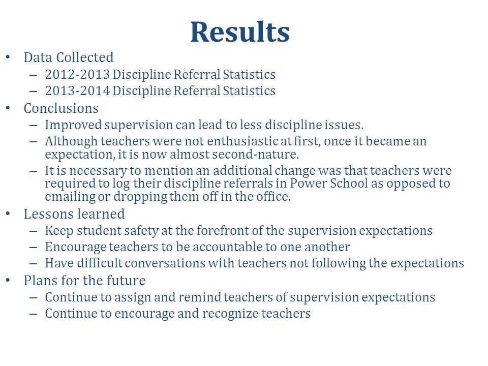 Results Data Collected Conclusions Lessons learned