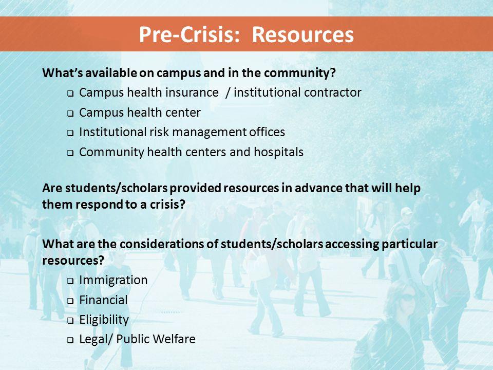 Pre-Crisis: Resources