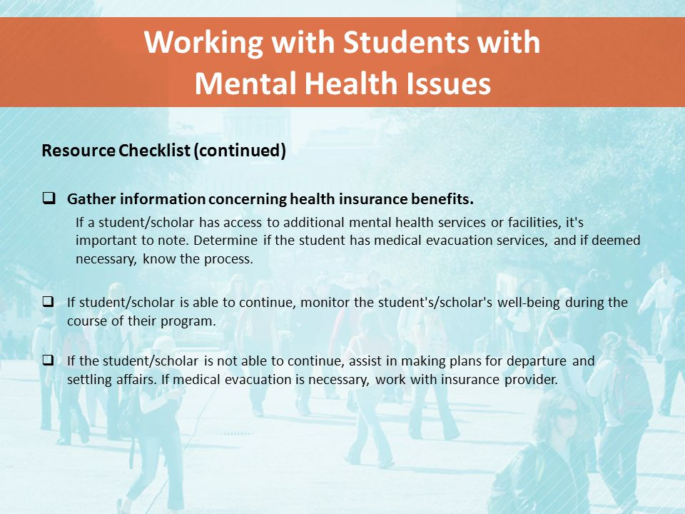 Working with Students with Mental Health Issues