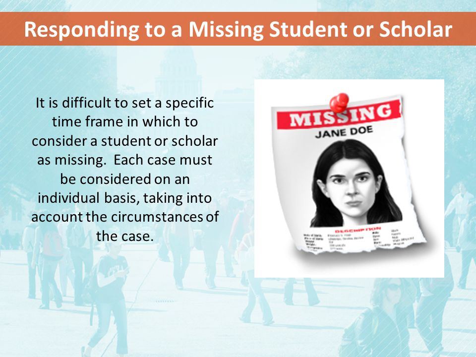 Responding to a Missing Student or Scholar