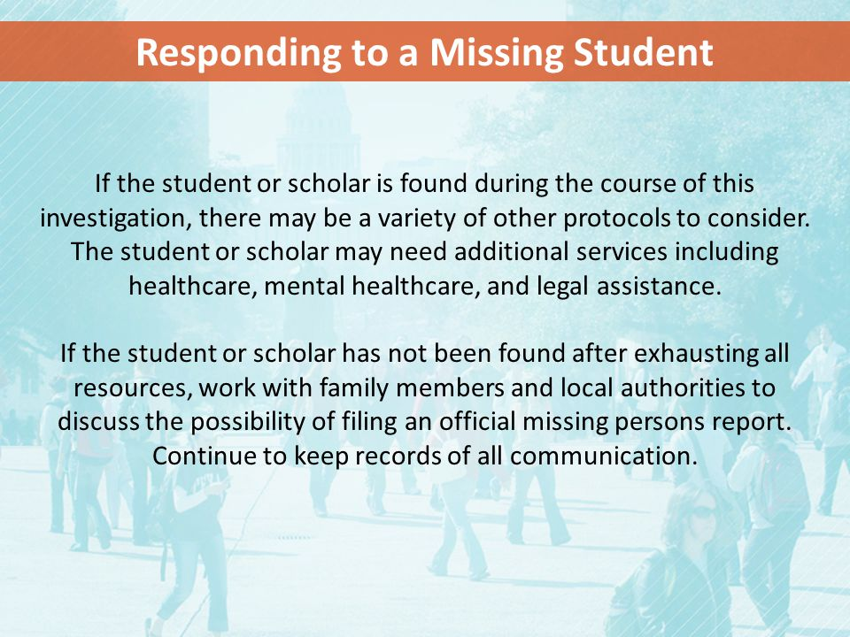 Responding to a Missing Student