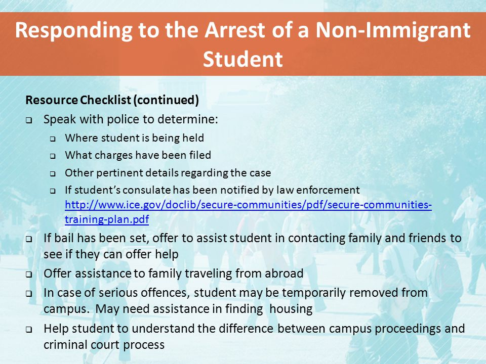 Responding to the Arrest of a Non-Immigrant Student