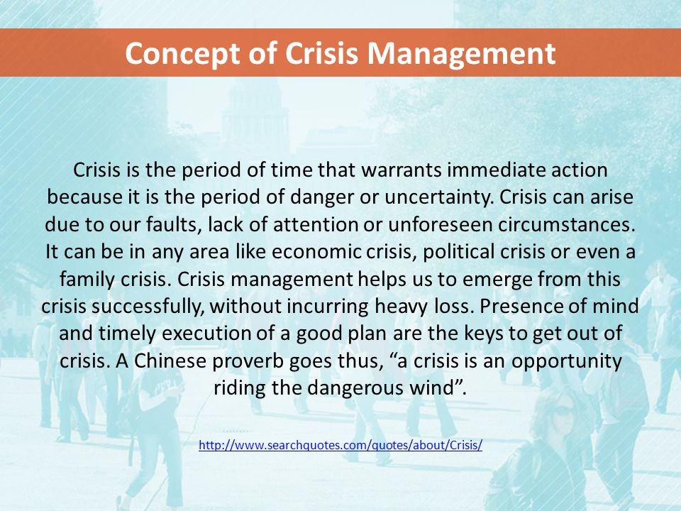 Concept of Crisis Management