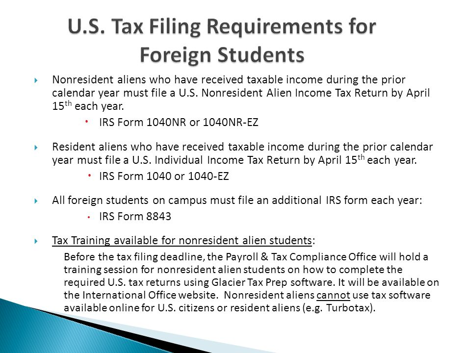 U.S. Tax Filing Requirements for Foreign Students