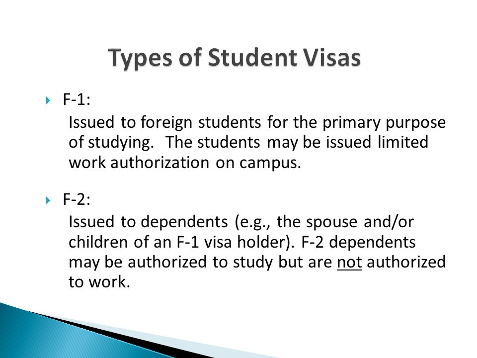 Types of Student Visas F-1: