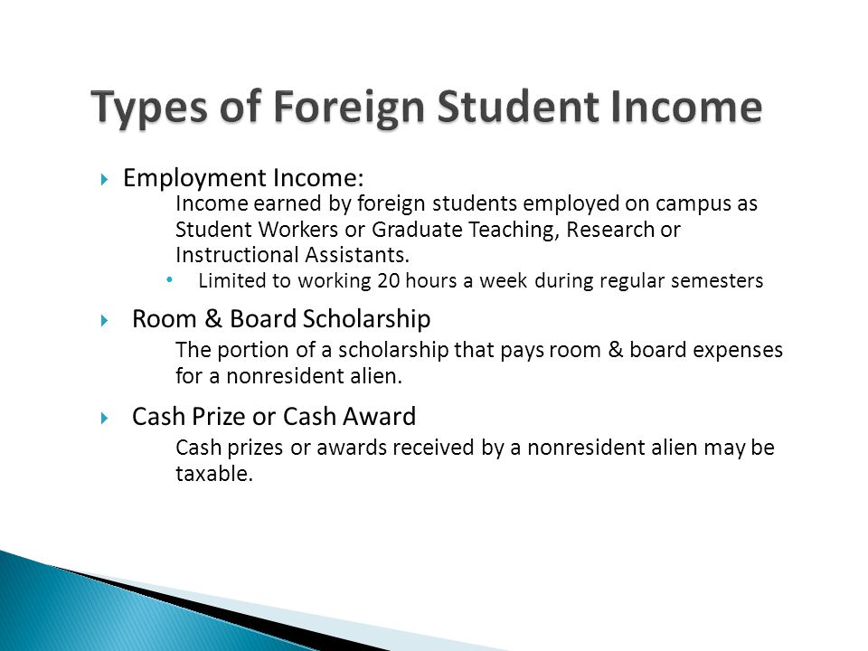 Types of Foreign Student Income