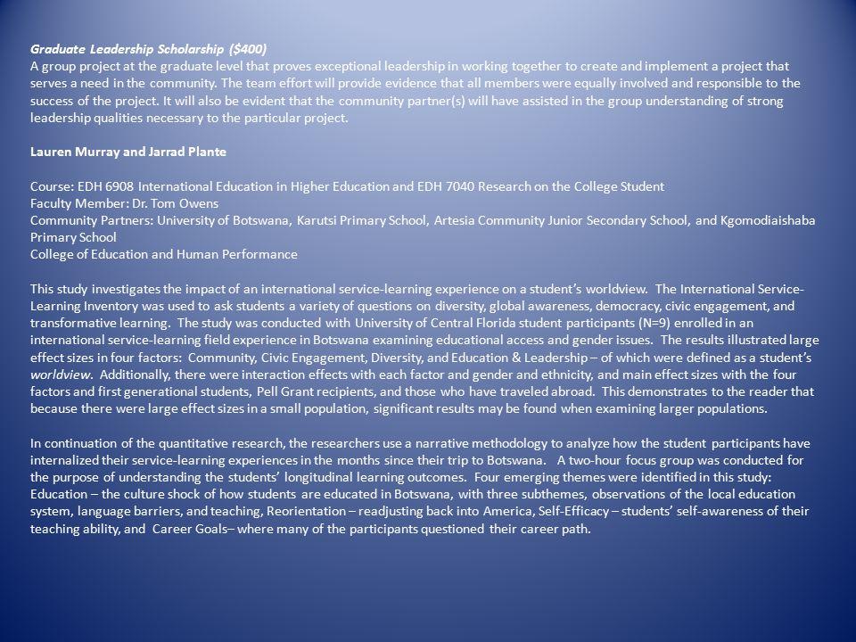 Graduate Leadership Scholarship ($400)