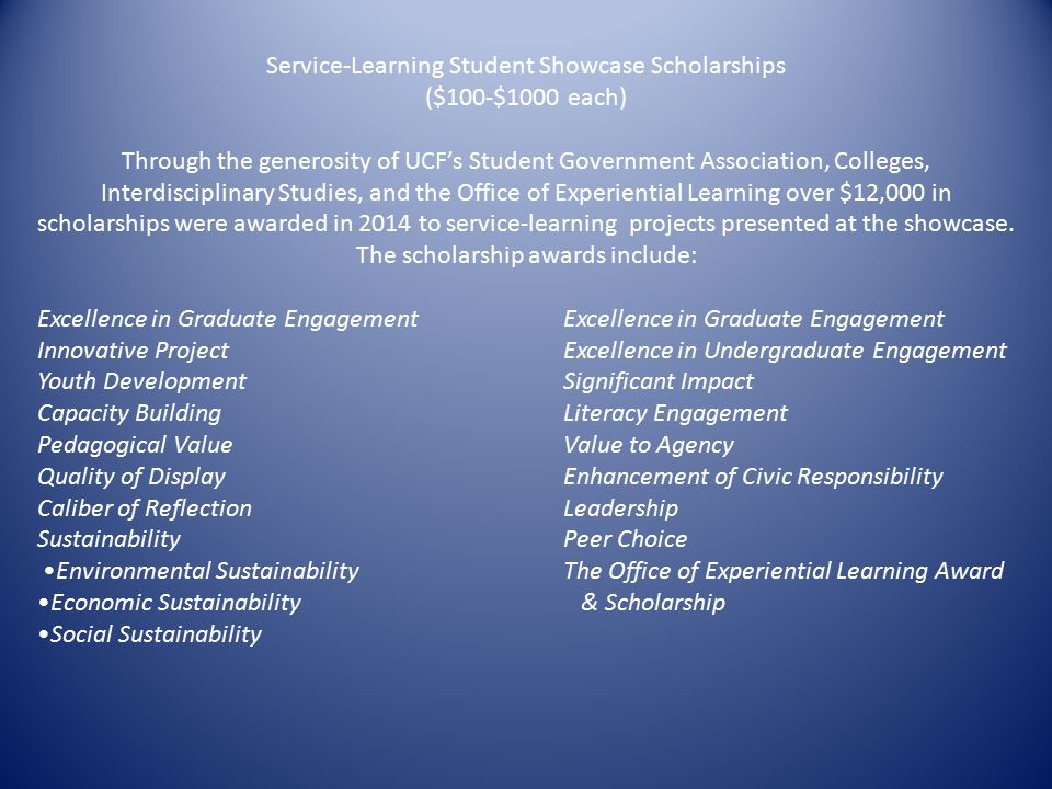 Service-Learning Student Showcase Scholarships