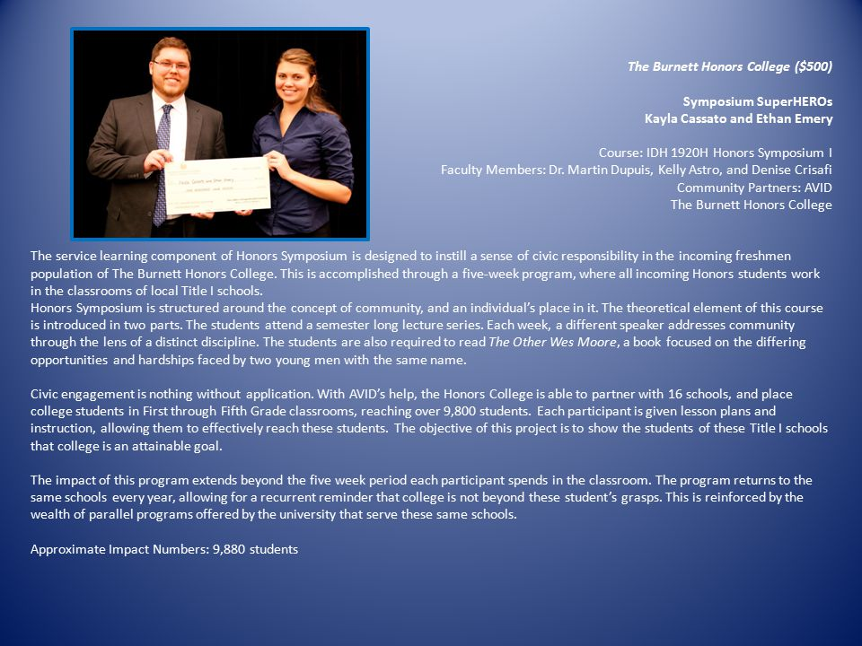 The Burnett Honors College ($500)